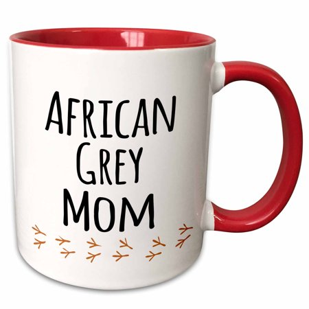 3dRose African Grey Parrot Mom - bird lover exotic pet owner - for her - text with bird footprints - Two Tone Red Mug, 15-ounce ()