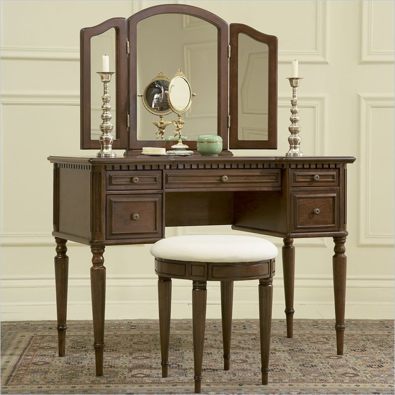 3-Piece Vanity, Mirror and Bench Set, Warm Cherry by Powell