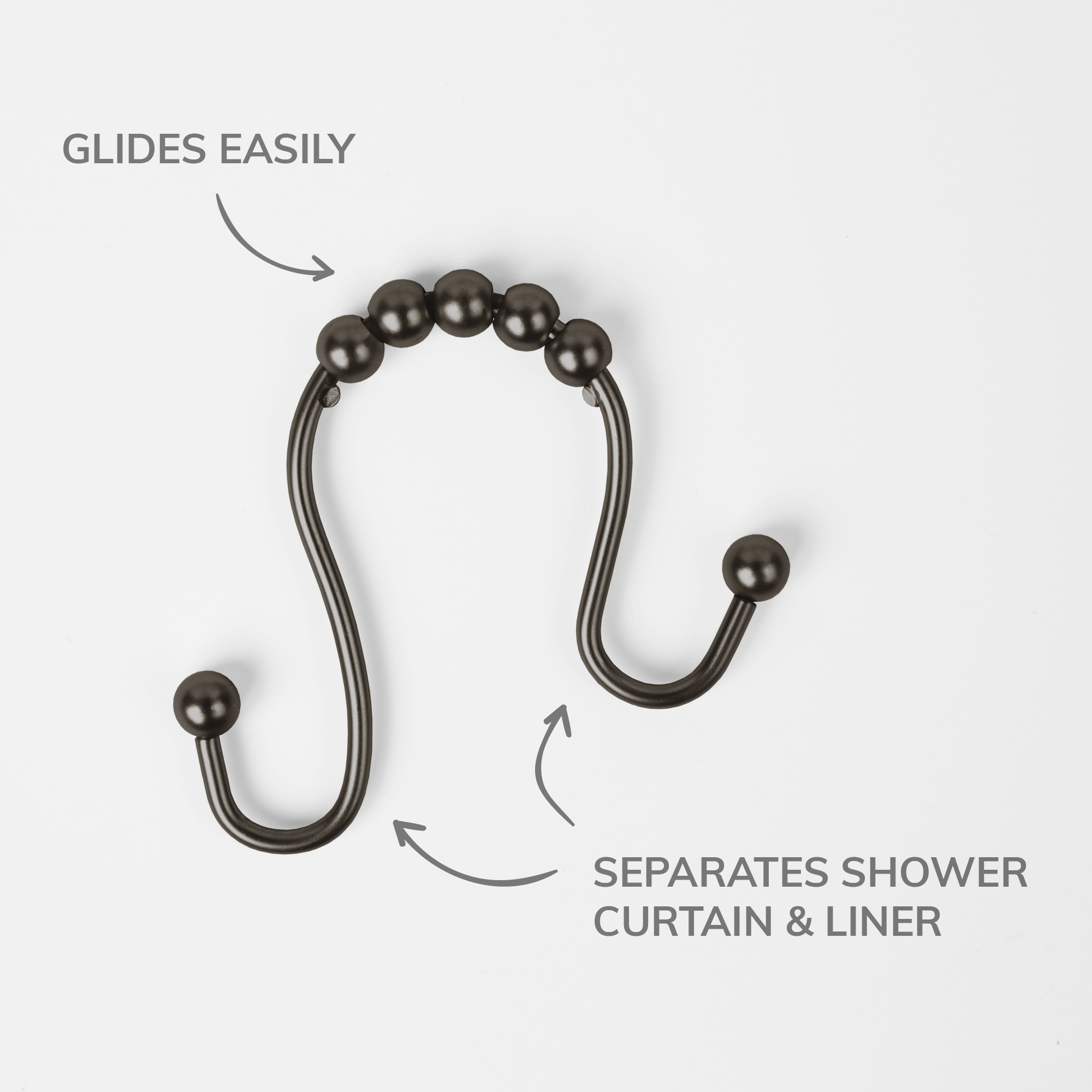 Set of 12 N/&Y HOME Double Roller Glide Shower Curtain Hooks Rust-Free