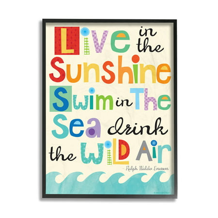 The Stupell Home Decor Collection Live In The Sunshine Emerson Quote Framed Wall Art
