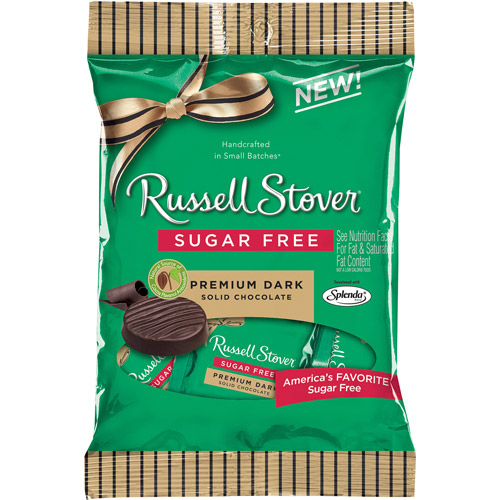 Russell Stover Sugar Free Premium Dark Solid Chocolate, 3 oz