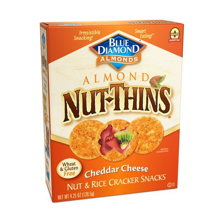 Blue Diamond Nut-Thins Cheddar Cheese Nut & Rice Cracker Snacks, 4.25 -