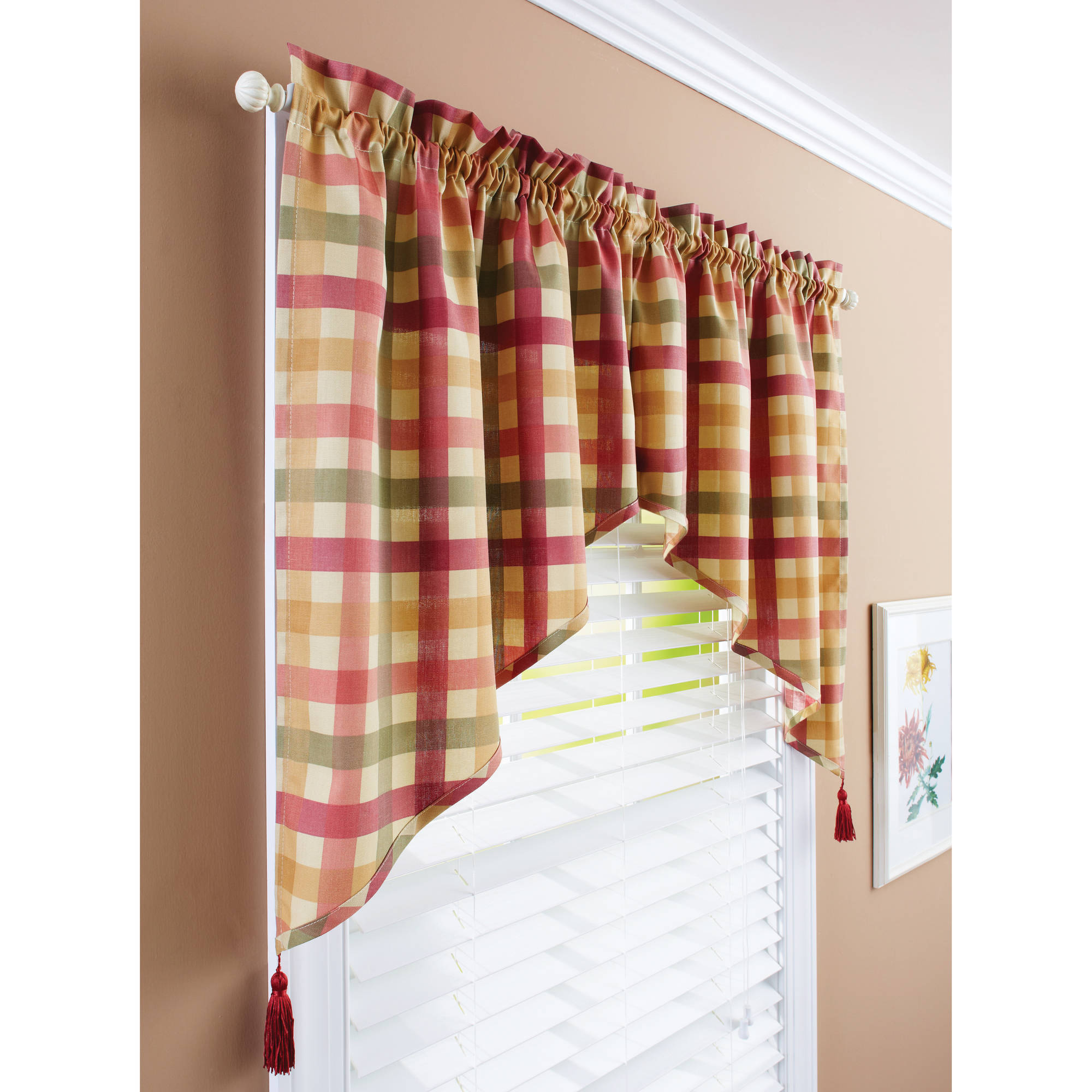 ordinary Kitchen Curtain And Valance Set Part - 17: Better Homes u0026 Gardens Red Check Valances - Walmart.com