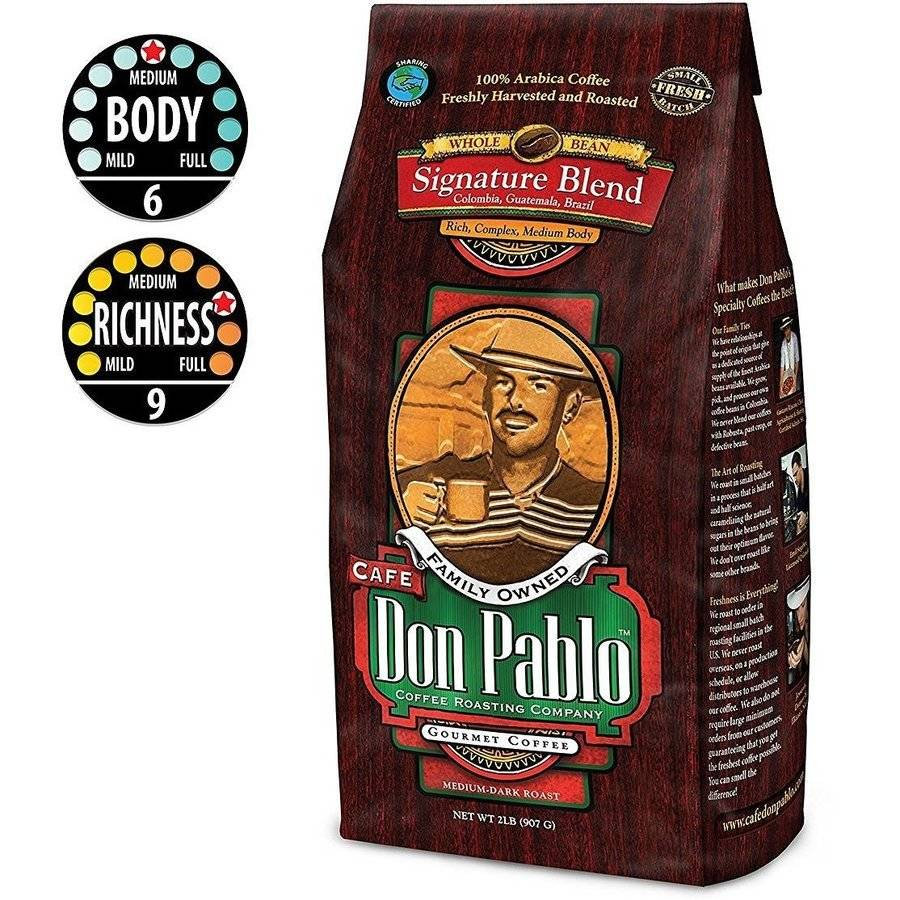 2LB Cafe Don Pablo Signature Blend Gourmet Coffee Medium-Dark Roast Whole Bean Coffee 100%... by Burke Brands LLC