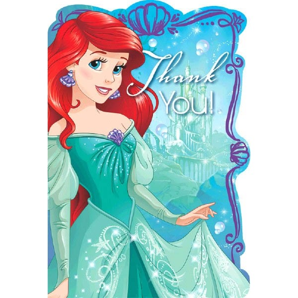 Ariel the Little Mermaid 'Dream Big' Thank You Notes w/ Envelopes (8ct)