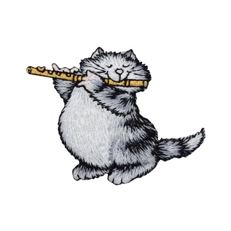 Gray Cat - Playing Flute - Pets - Kitten - Iron on Embroidered Applique Patch
