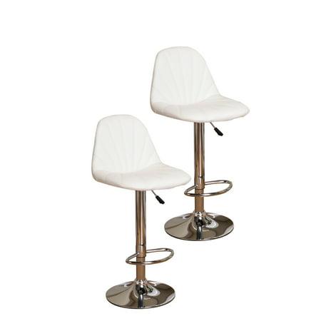 Fabulous Jenni White Vinyl Seat Chrome Metal Transitional 24 33 Adjustable Height Pub Bistro Bar Stools Set Of 2 Ibusinesslaw Wood Chair Design Ideas Ibusinesslaworg