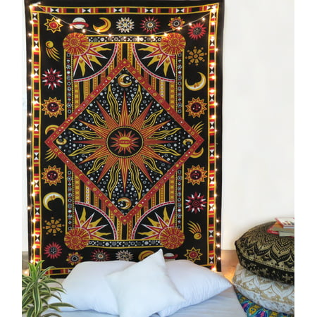 Twin Red and Black Celestial Tapestry Zodiac Wall Hanging Dorm Room Tapestries Astrology Wall Art by Oussum ()
