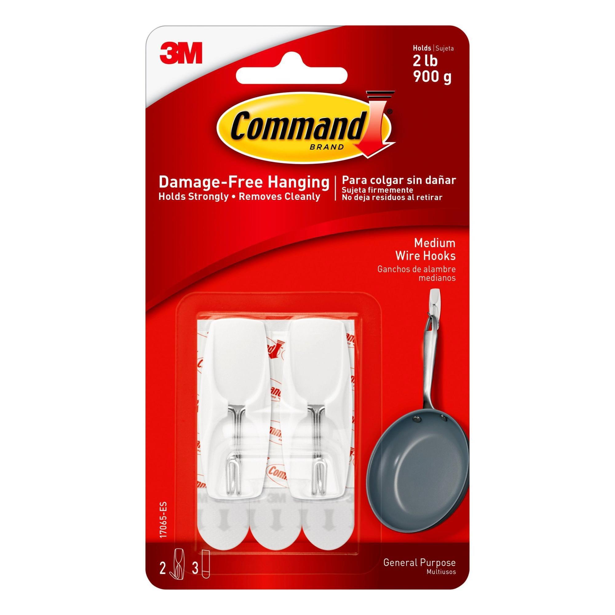 Command Wire Hook, White, Medium, 2 Hooks, 3 Strips/Pack