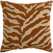 "18"" Rust Orange and Beige Brown Animal Print Decorative Throw Pillow – Down Filler"