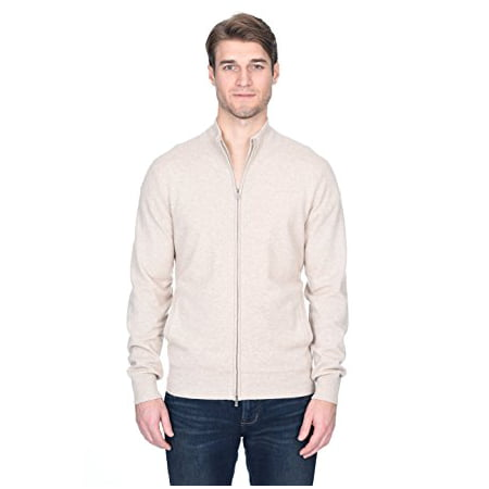 - State Fusio Men's Cashmere Wool Full-Zip Mock Neck Sweater