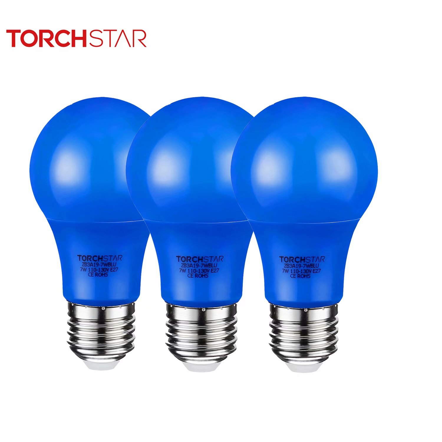 TORCHSTAR Blue LED A19 Colored Light Bulb, 7W, Medium E27 Base, Pack of 3