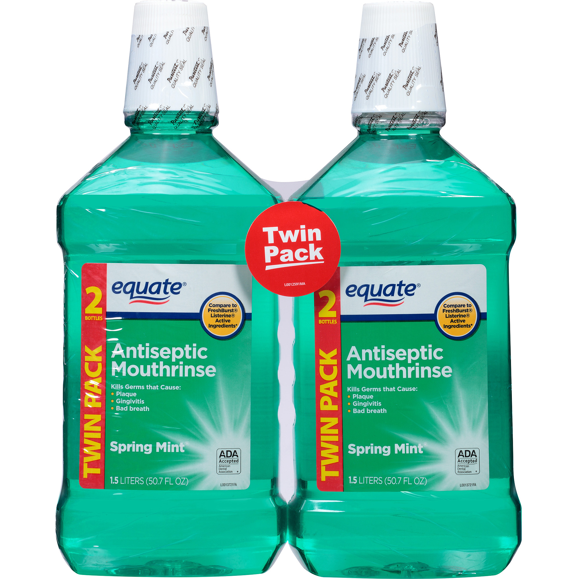 Equate Spring Mint Antiseptic Mouthrinse, 1.5 l, (Pack of 2)