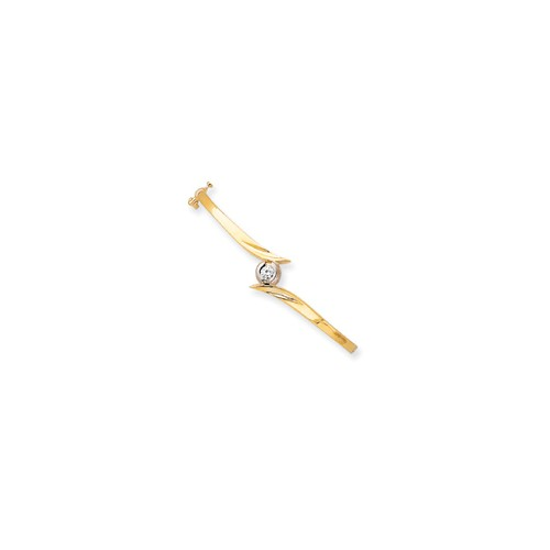 14k Two Tone Gold 7in H-I SI2 Quality Diamond Bangle. Carat Wt- 0.25ct