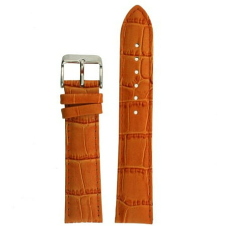 Orange Crocodile Leather (Watch Band Orange Genuine Leather Crocodile Grain 18 millimeter Tech Swiss )