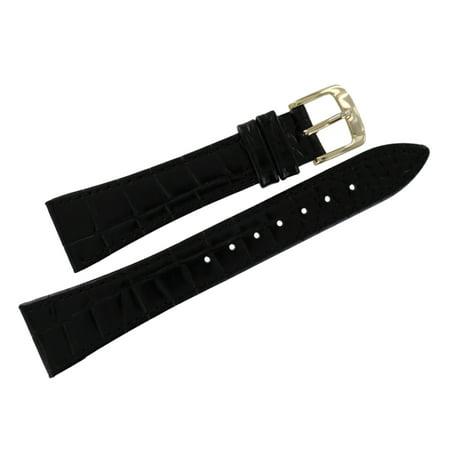 20mm Mens Black Tapered Alligator Grain Watch Strap (Alligator Grain Watch Band)