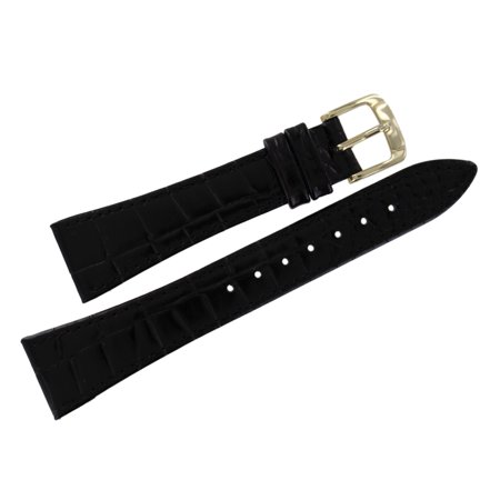 Alligator Calf Watch Band - 20mm Mens Black Tapered Alligator Grain Watch Strap