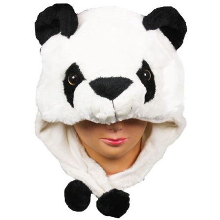 Plush Fleece Animal Hat PANDA Ear Flaps Pon Pons winter ski beanie US SELLER! - Fuzzy Panda Hat