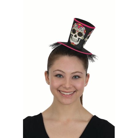 Sugar Skull Girl Costumes (Mini Top Hat Headband Sugar Skulls Dead Of the Dead Headpiece Costume)