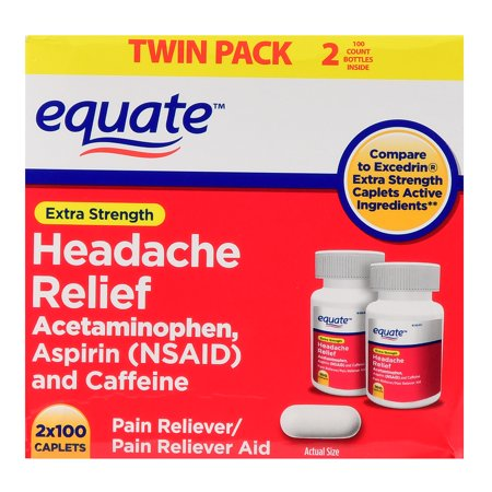 Equate Headache Relief Acetaminophen Aspirin - Caffeine Extra Strength Twin Pack 200 Caplets