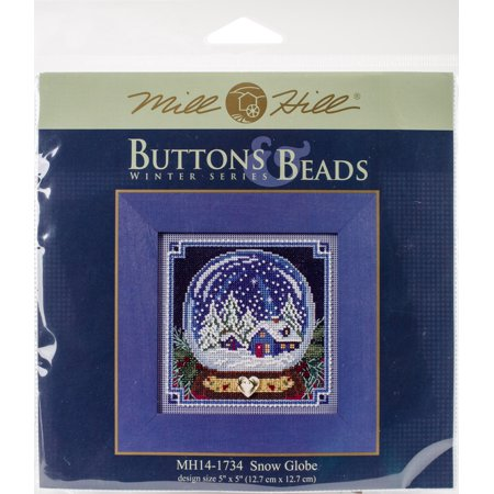 """Snow Globe Buttons & Beads Counted Cross Stitch Kit-5""""X5"""" 14 Count"""