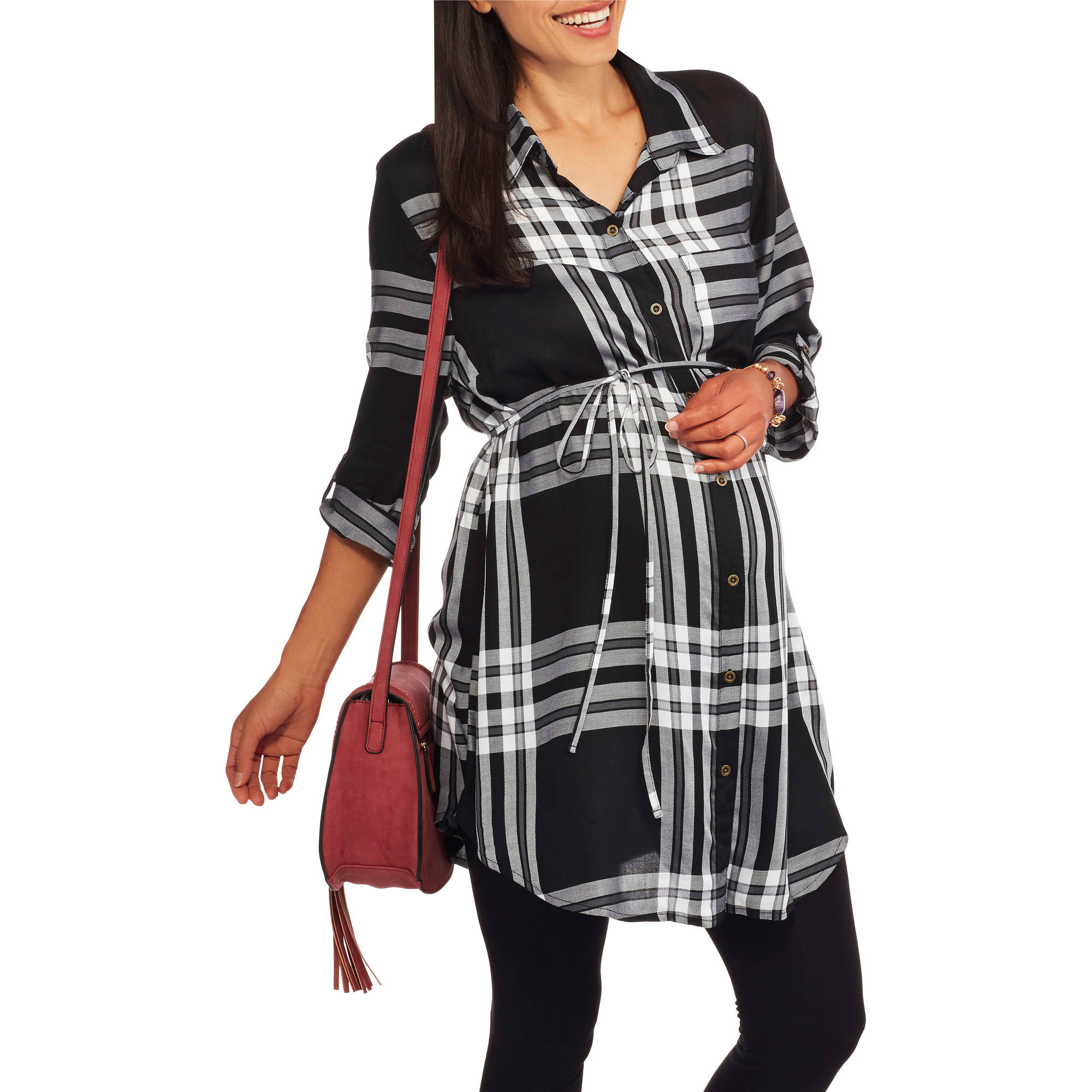 Faded Glory Maternity Plaid Tunic with Tie Belt