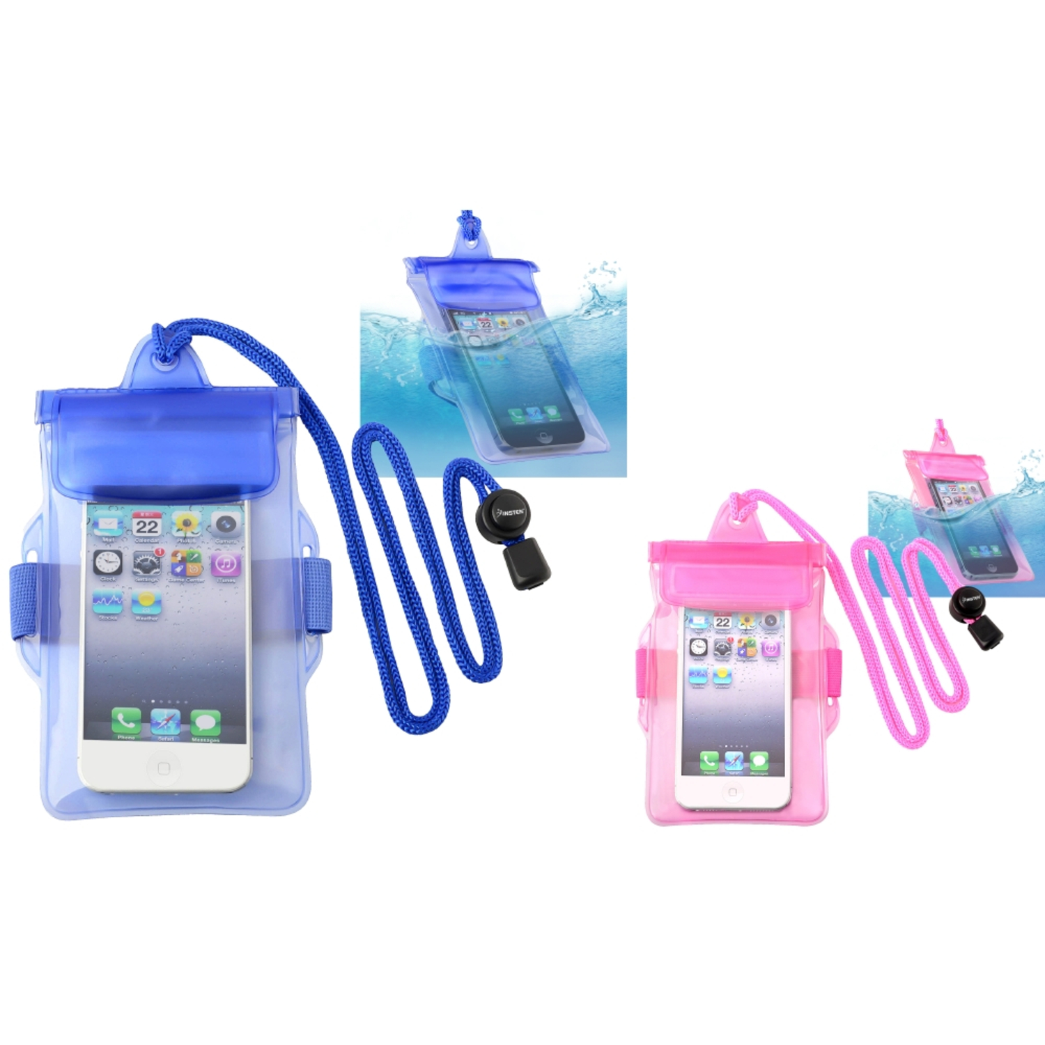 Insten 2-pack (Blue+Hot Pink) Waterproof Bag Case For iPhone 5S 5C 5 4 4S / LG VS840 VS740 VN530 VN250 LS696 LS670 LN510