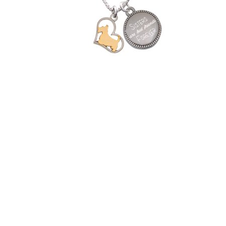 Two-tone Scottie Dog Silhouette Heart Sisters Are Best Friends Forever Engraved (Friend Scottie Dog)