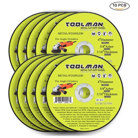 Dewalt Stainless Steel Grinding Wheel (Toolman Premium Cut Off Cutting Wheel Universal Fit 10pcs 46 Grit 15200 rpm - 4