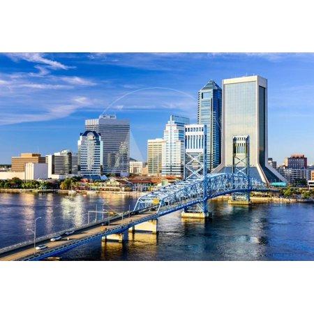 Jacksonville, Florida, USA Downtown City Skyline on St. Johns River. Print Wall Art By (St Johns Center Jacksonville)