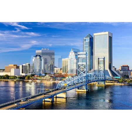 Jacksonville, Florida, USA Downtown City Skyline on St. Johns River. Print Wall Art By -