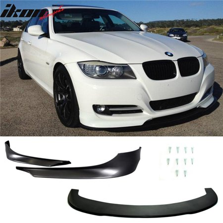 Fits 09-12 BMW E90 3-Series 328I 335 2 Piece Front Bumper Lip PP + Splitter -