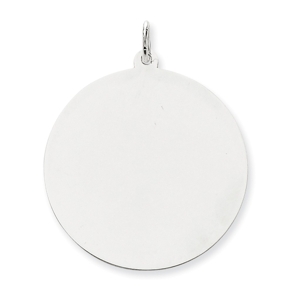 14K White Gold Engravable Polished Round Disc Charm (1.5in long x 1.2in wide)