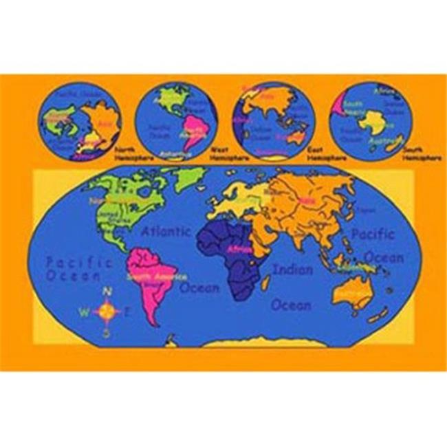 Sintechno Sa World57 World Map Area Rug 5 X 7 Ft