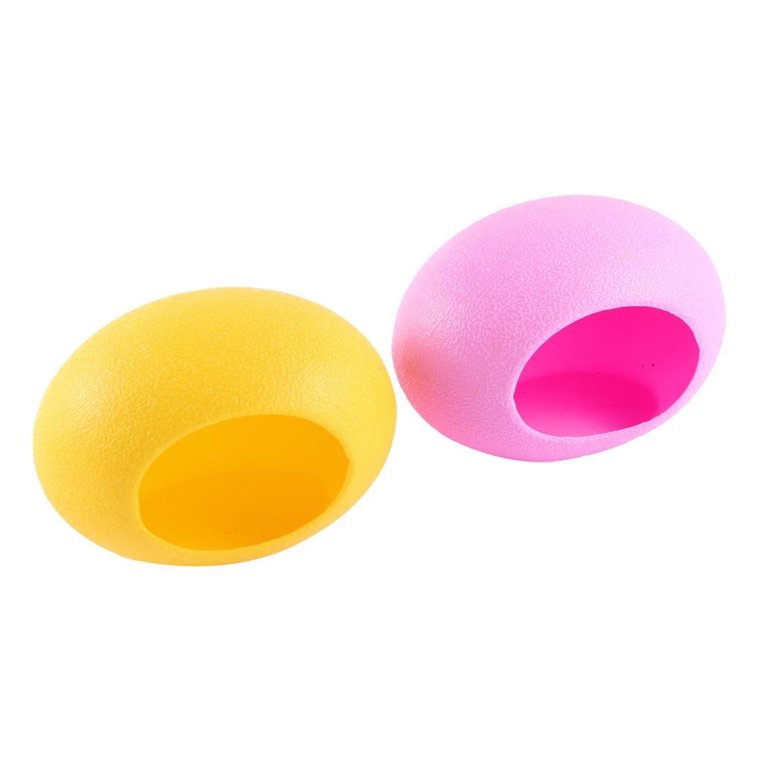 Unique Bargains 2 Pcs Plastic Egg Nest Shaped Washable Portable Hamster House Yellow Pink by Unique-Bargains