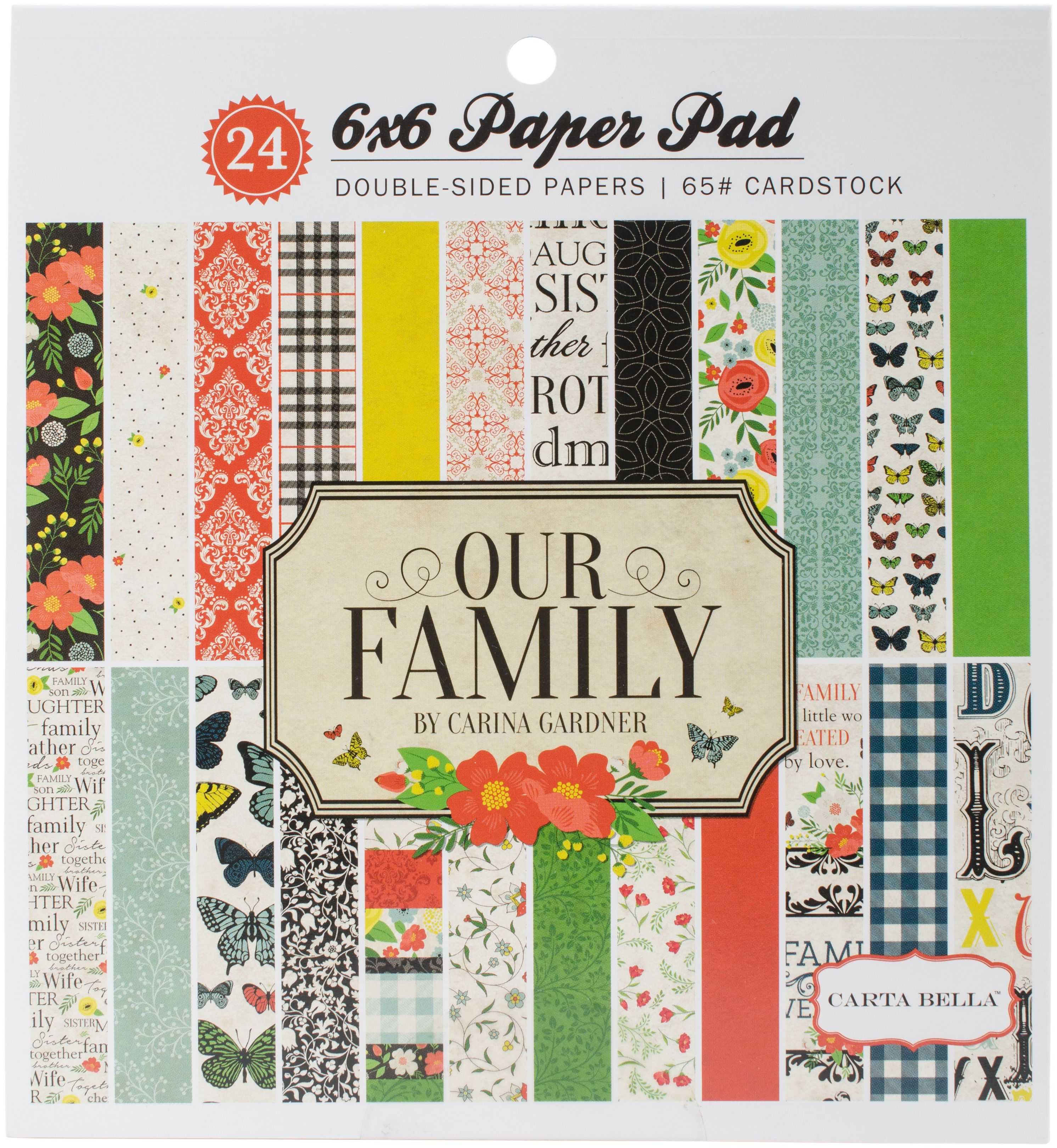 "Carta Bella Double-Sided Paper Pad 6""X6"" 24/Pkg-Our Family, 12 Designs/2 Each"