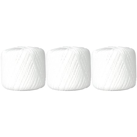 100% Pure Cotton Crochet Thread 3 Ball Value Pack - Size 10 - Color 1 - WHITE - 27 colors available