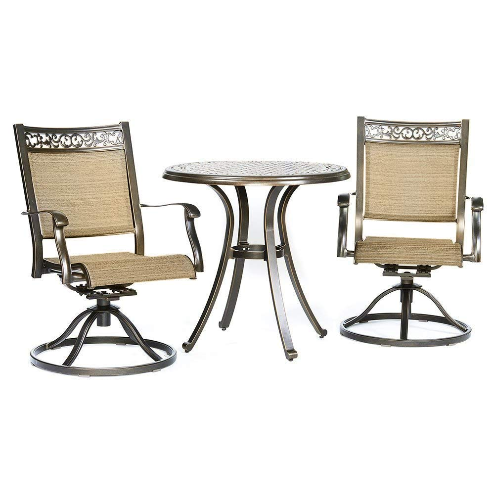 Dali 3 piece bistro set cast aluminum dining table swivel rocker chairs outdoor patio furniture walmart com