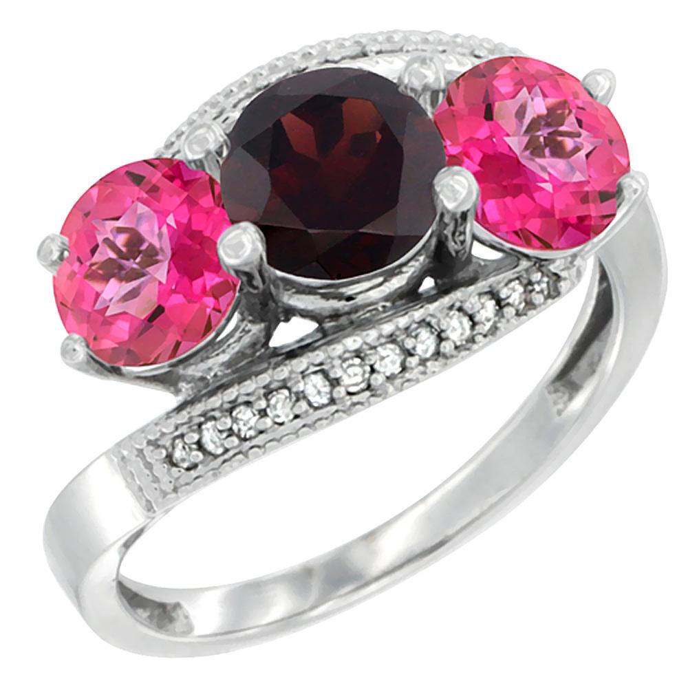 10K White Gold Natural Garnet & Pink Topaz Sides 3 stone Ring Round 6mm Diamond Accent, sizes 5 10 by WorldJewels