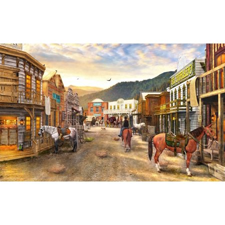 Wild West Town Poster Print by Dominic Davidson (Wild West Wanted Poster)