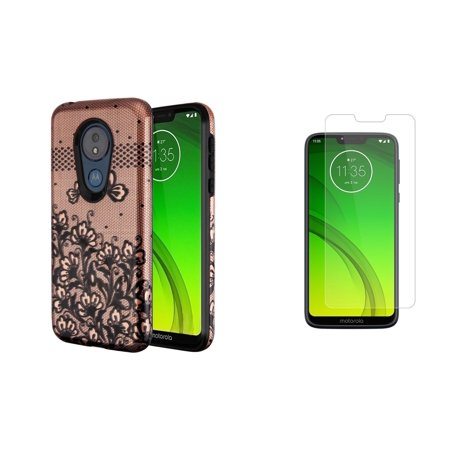 Glass Door Floral Case (Bemz 2D Fuse Series Compatible with Moto G7 Power, Moto G7 Supra Case Bundle with Dual Hybrid Protection Shield Cover (Black Lace Floral), Tempered Glass Screen Protector and Atom Cloth)
