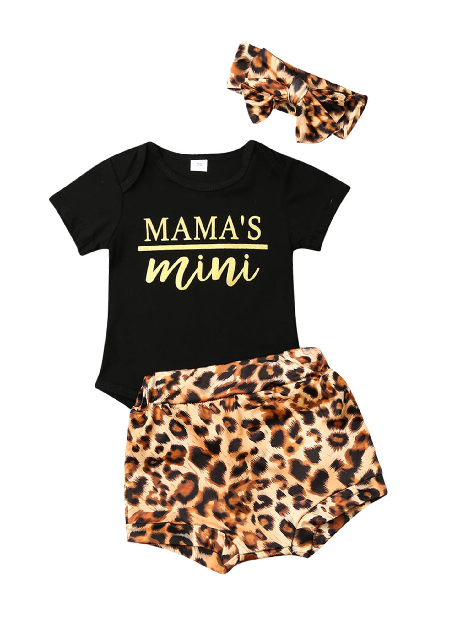 Newborn Infant Baby Girls Black Short//Long Sleeve Romper Top Leopard Print Ruffled Shorts Pants Headband 3Pcs Outfit