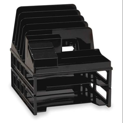 "9"" Letter Tray with Sorter, Black ,Officemate, 22132 by Officemate"