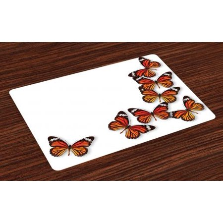 Butterflies Placemats Set of 4 Monarch Butterfly Figures Flying Frame Insect Exotic Weather, Washable Fabric Place Mats for Dining Room Kitchen Table Decor,Dark Brown Marigold Orange, by - Monarch Butterfly Decorations