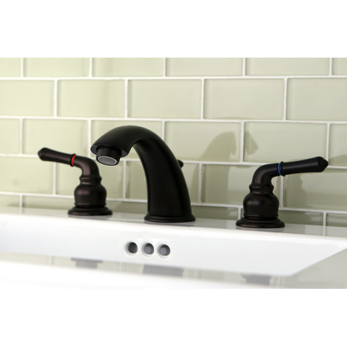 Kingston Brass Magellan Widespread Bathroom Faucet with ABS Pop-Up Drain