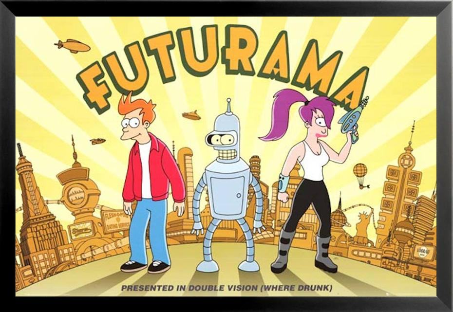 ART PRINT Fry and Leela illustration Wall Art TV series Gift Futurama