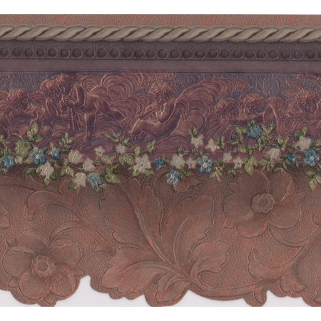 Wallpaper Border - Purple Flower Floral Wall Border for Kitchen Bathroom Living Room, Roll 15 ft X 5.25 in