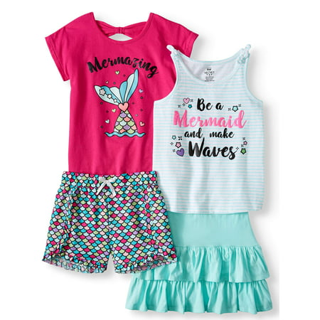 Mermaid Mix and Match, 4-Piece Outfit Set (Little Girls & Big - Girl 4 Piece Set
