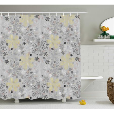 Grey And Yellow Shower Curtain Ethnic Bohem Style Paisley Print Flowers Dots Art Image
