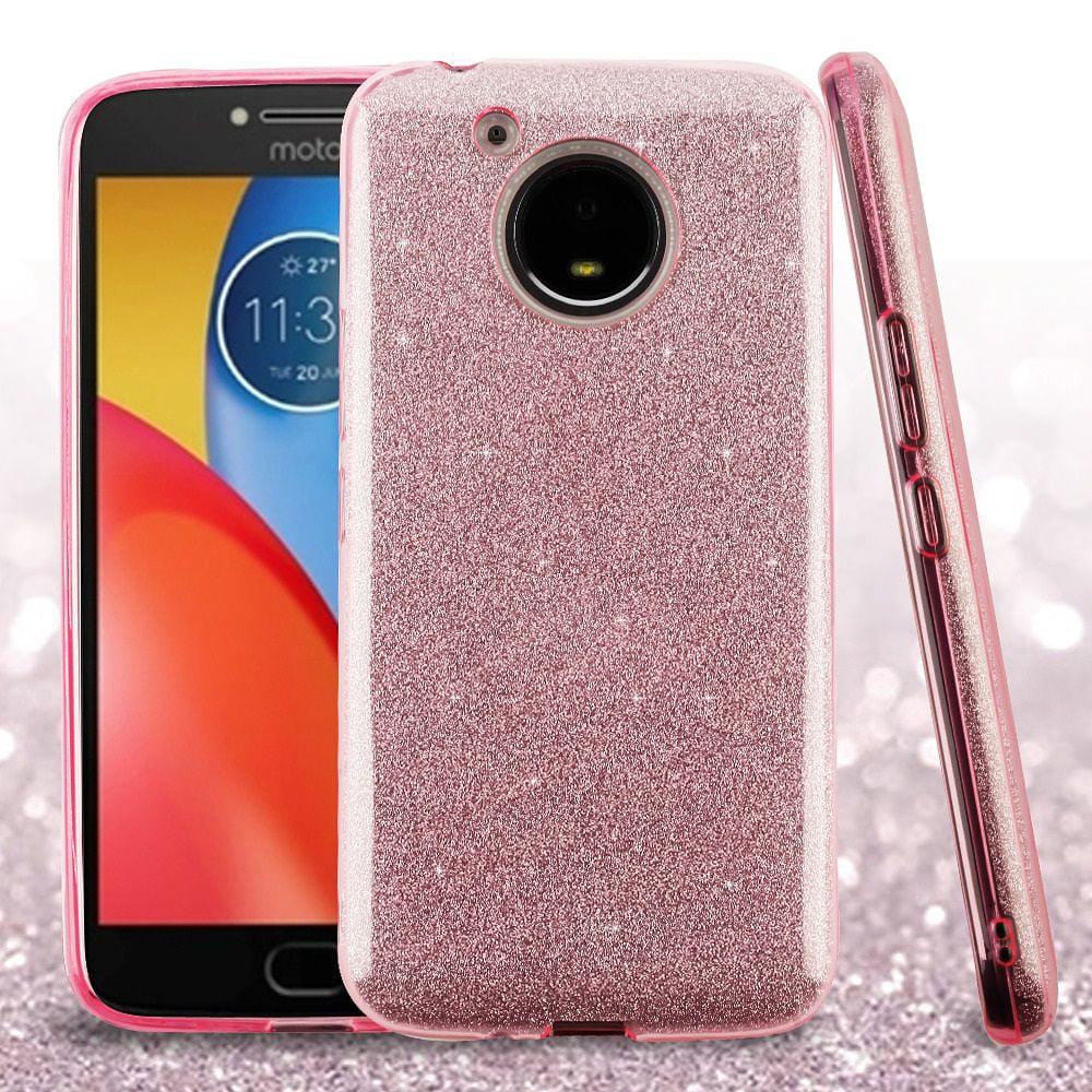 Motorola Moto E4 Plus Case, by Insten Glitter Dual Layer [Shock Absorbing] Hybrid Hard Plastic/Soft TPU Rubber Case Cover For Motorola Moto E4 Plus, Pink - image 1 of 1